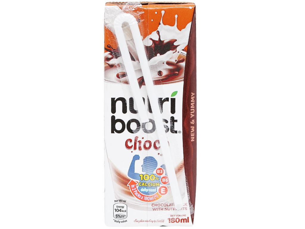 Lốc 4 hộp thức uống socola sữa bổ dưỡng Nutriboost Choco 180ml 4