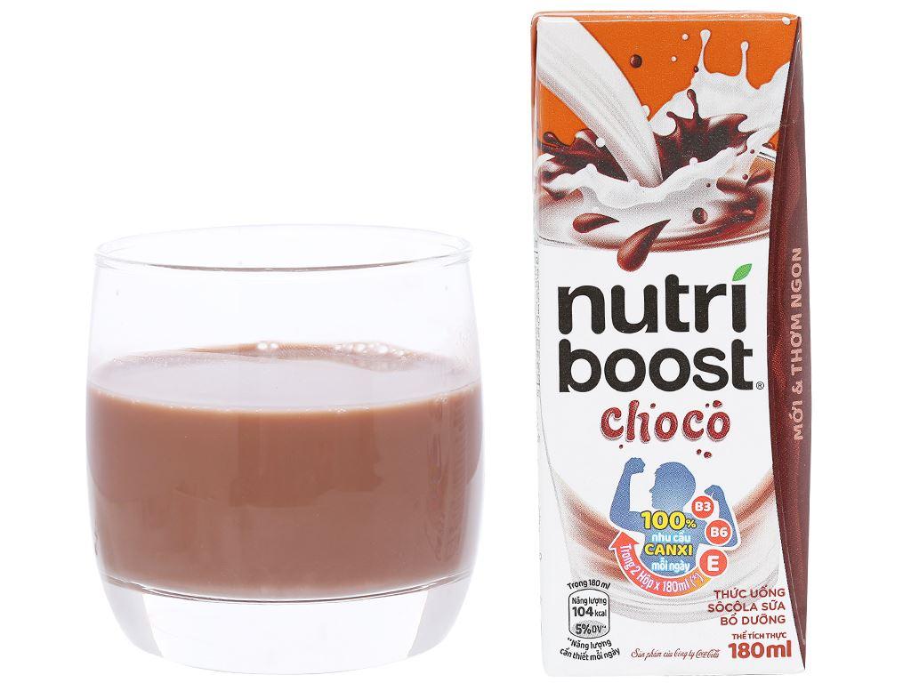 Lốc 4 hộp thức uống socola sữa bổ dưỡng Nutriboost Choco 180ml 6