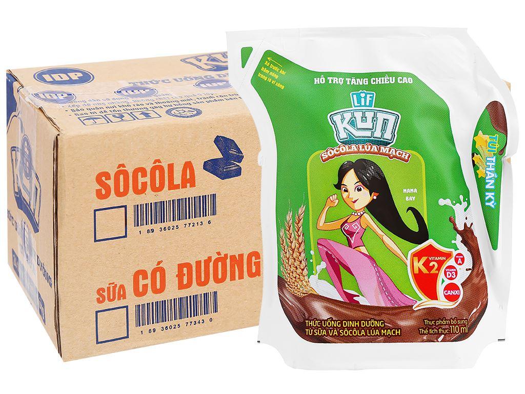 Thùng 24 túi thức uống dinh dưỡng socola lúa mạch LiF Kun 110ml 1