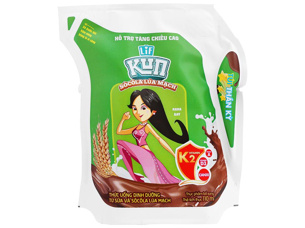 Thùng 24 túi thức uống dinh dưỡng socola lúa mạch LiF Kun 110ml 2