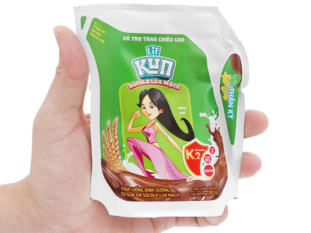 Thùng 24 túi thức uống dinh dưỡng socola lúa mạch LiF Kun 110ml 5