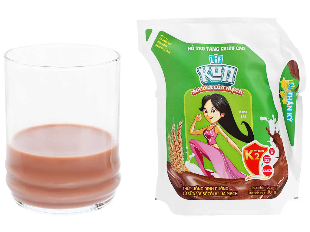 Thùng 24 túi thức uống dinh dưỡng socola lúa mạch LiF Kun 110ml 6