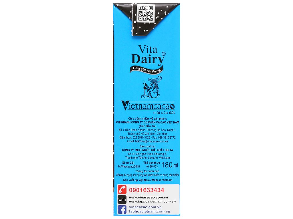 Thùng 48 hộp ca cao sữa uống liền Vita Dairy 180ml 5