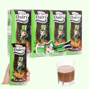 Lốc 4 hộp ca cao uống liền hương lúa mạch Vita Dairy 180ml