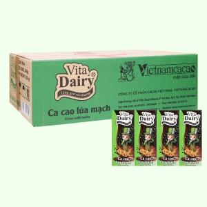 Thùng 48 hộp ca cao uống liền hương lúa mạch Vita Dairy 180ml