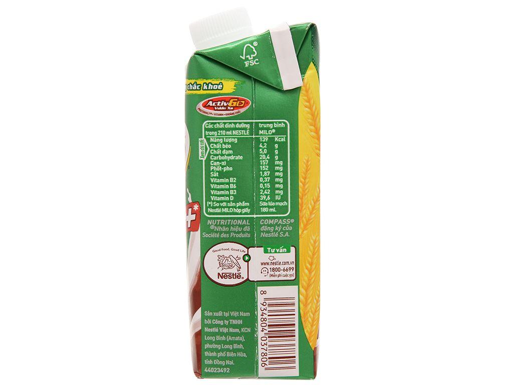 Sữa lúa mạch Milo nắp vặn hộp 210ml 3