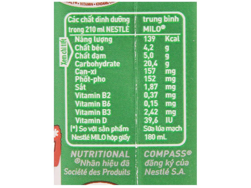 Thùng 24 hộp sữa lúa mạch Milo nắp vặn 210ml 6