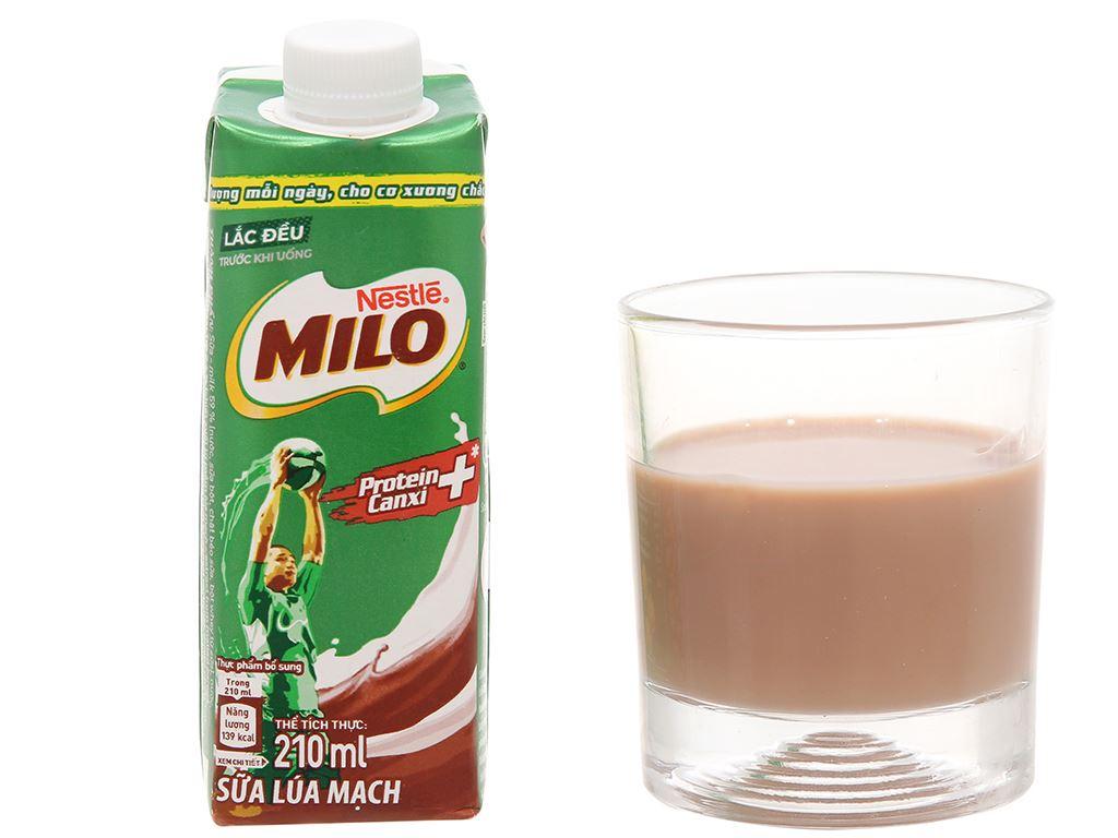 Thùng 24 hộp sữa lúa mạch Milo nắp vặn 210ml 8