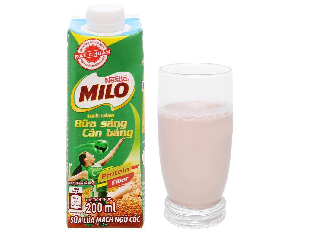 Sữa lúa mạch ngũ cốc ít đường Milo nắp vặn hộp 200ml 11