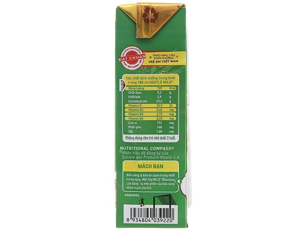 Lốc 3 hộp sữa lúa mạch ngũ cốc Milo 180ml 4