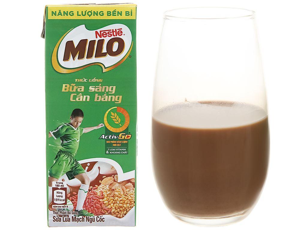 Lốc 3 hộp sữa lúa mạch ngũ cốc Milo 180ml 8