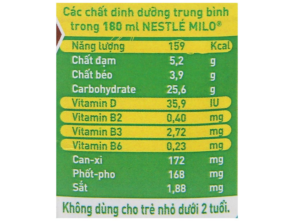 Thùng 36 hộp thức uống ngũ cốc uống liền Milo 180ml 5