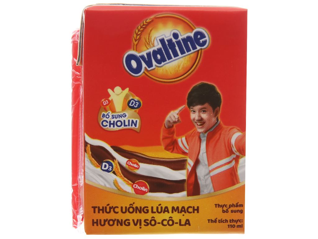 Lốc 4 hộp thức uống lúa mạch hương vị socola Ovaltine 110ml 3