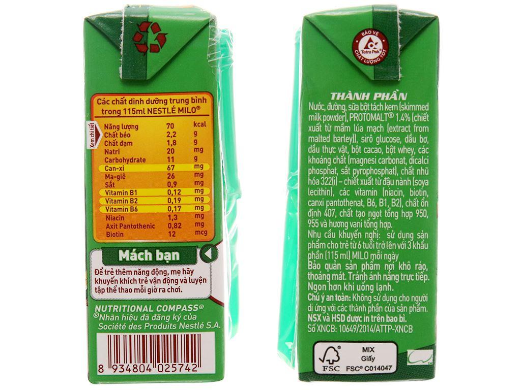Lốc 4 hộp thức uống lúa mạch Milo Active Go 115ml 5