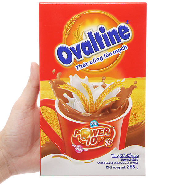 Bột thức uống lúa mạch Ovaltine Power 10 socola hộp 285g