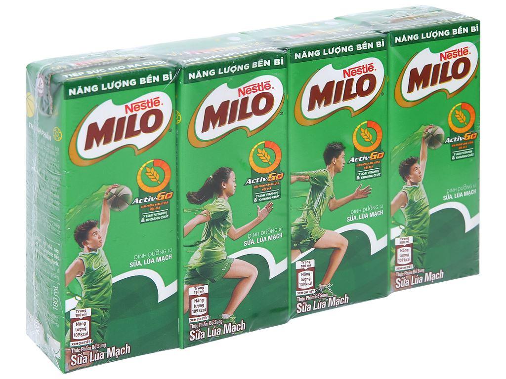 Lốc 4 hộp thức uống lúa mạch Milo Active Go 180ml 1