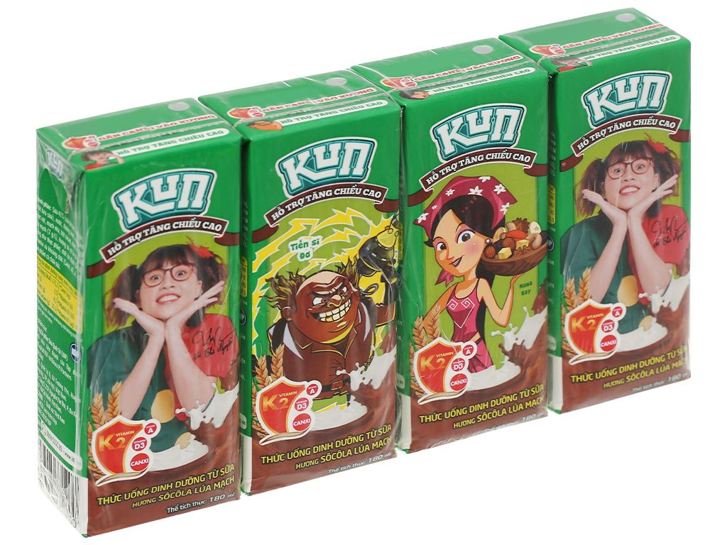 Lốc 4 hộp thức uống dinh dưỡng socola lúa mạch LiF Kun 180ml 1