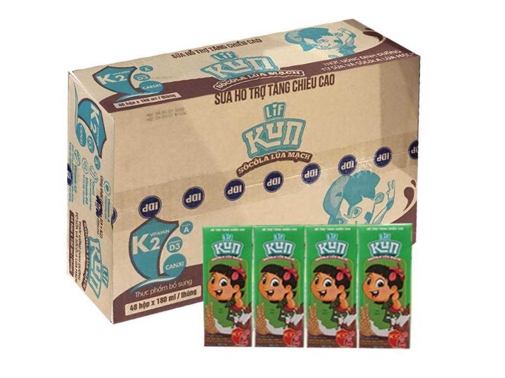 Thùng 48 hộp thức uống dinh dưỡng socola lúa mạch LiF Kun 180ml 1