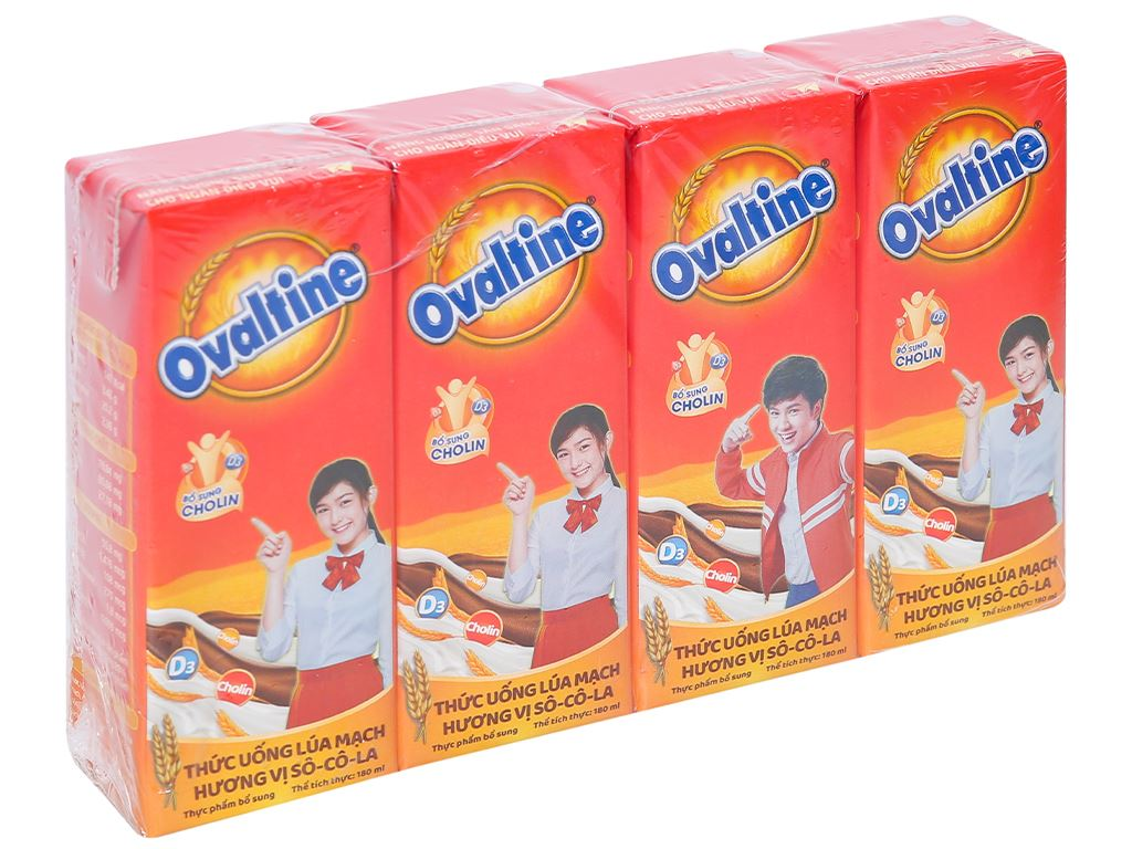 Thùng 48 hộp thức uống lúa mạch hương vị socola Ovaltine 180ml 2