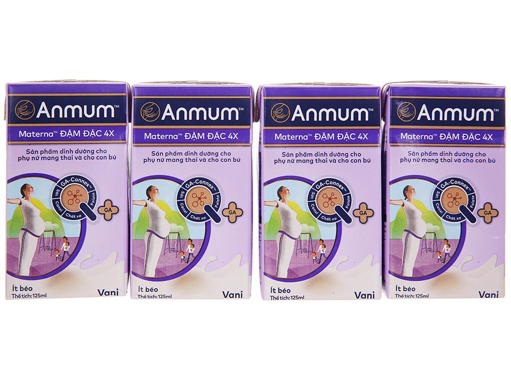 Lốc 4 hộp sữa bột pha sẵn Anmum Materna Đậm Đặc 4X vani 125ml 7