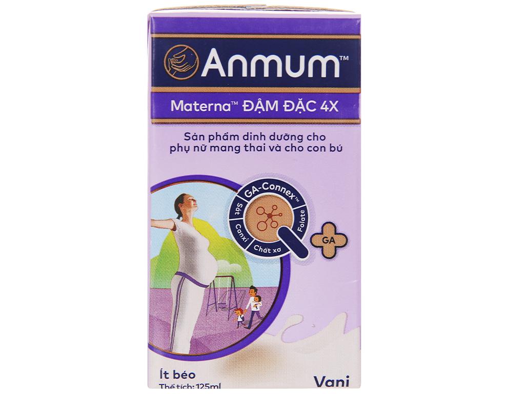 Lốc 4 hộp sữa bột pha sẵn Anmum Materna Đậm Đặc 4X vani 125ml 9