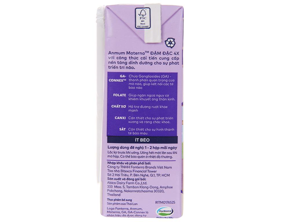 Lốc 4 hộp sữa bột pha sẵn Anmum Materna Đậm Đặc 4X vani 125ml 12