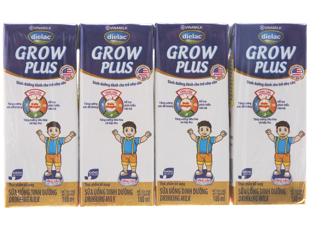 Lốc 4 hộp sữa uống dinh dưỡng Dielac Grow Plus 180ml (cho trẻ nhẹ cân) 1