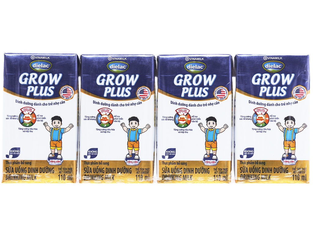 Lốc 4 hộp sữa bột pha sẵn Dielac Grow Plus 110ml (cho trẻ nhẹ cân) 1