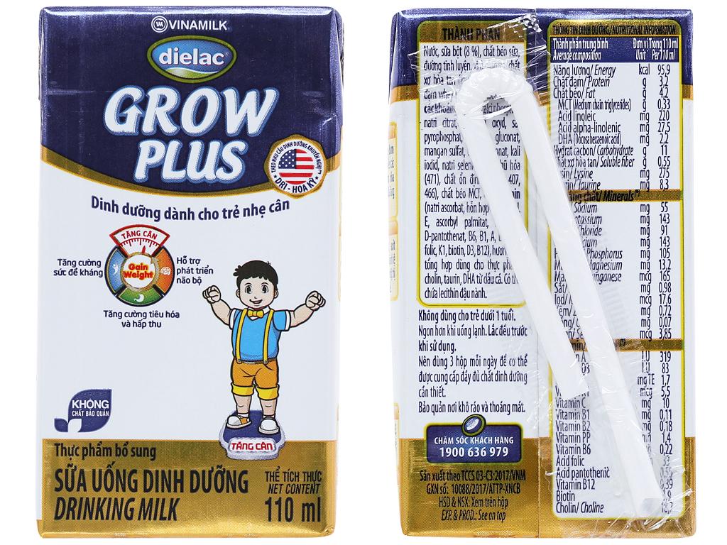 Lốc 4 hộp sữa uống dinh dưỡng Dielac Grow Plus 110ml (cho trẻ nhẹ cân) 2