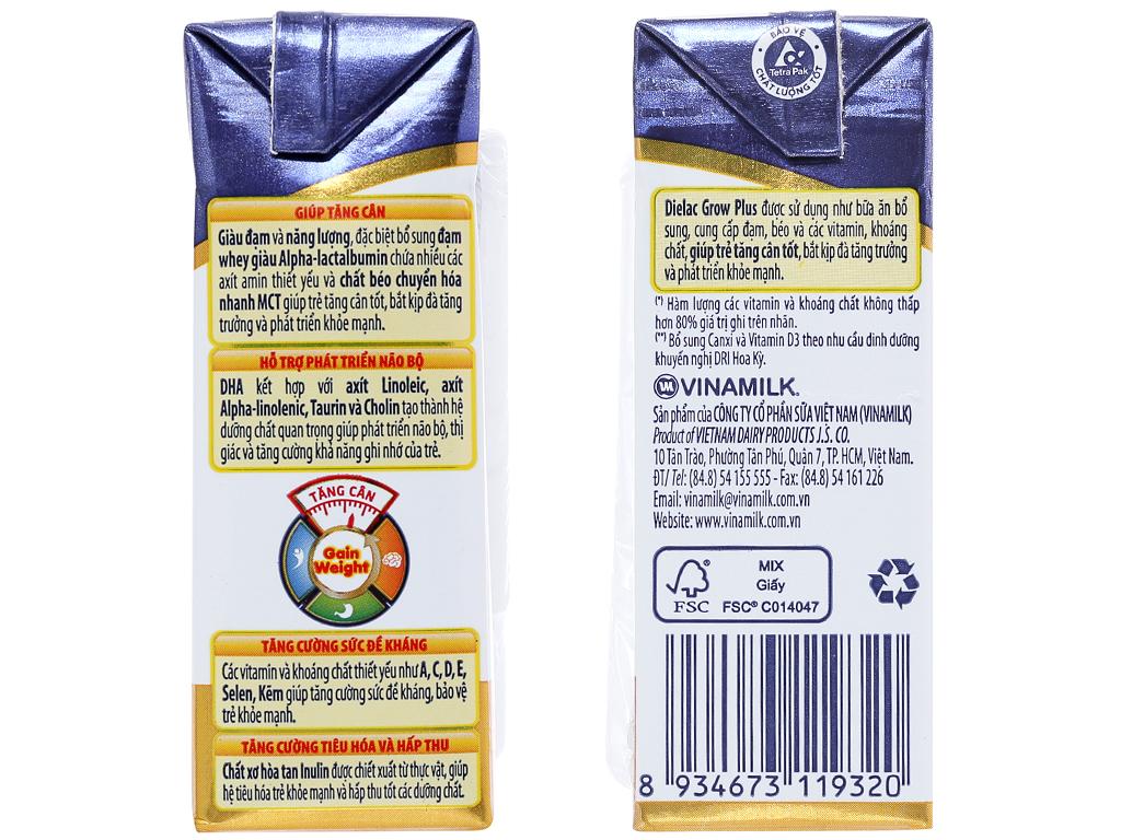 Lốc 4 hộp sữa bột pha sẵn Dielac Grow Plus 110ml (cho trẻ nhẹ cân) 3