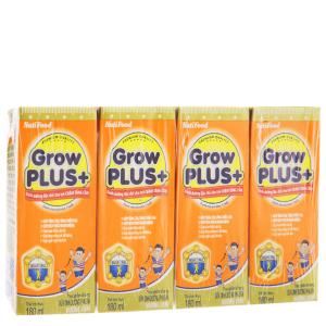 Lốc 4 hộp sữa uống dinh dưỡng NutiFood Grow Plus+ vani 180ml (cho trẻ chậm tăng cân)