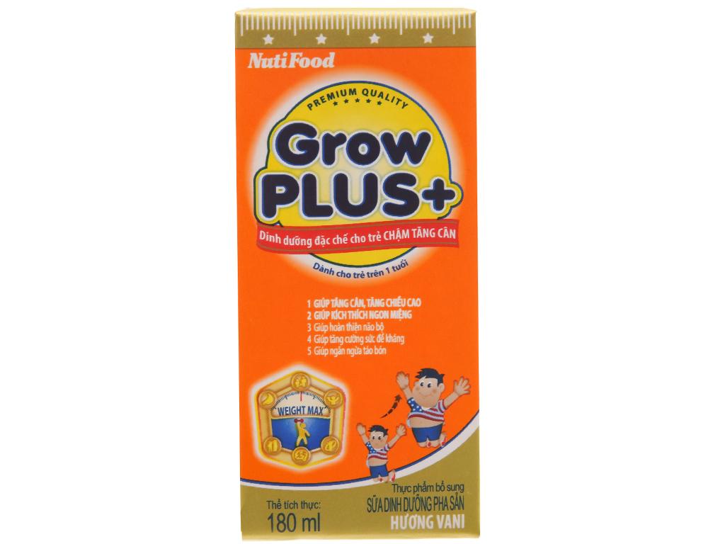 Lốc 4 hộp sữa bột pha sẵn NutiFood Grow Plus + chậm tăng cân vani 180ml 3