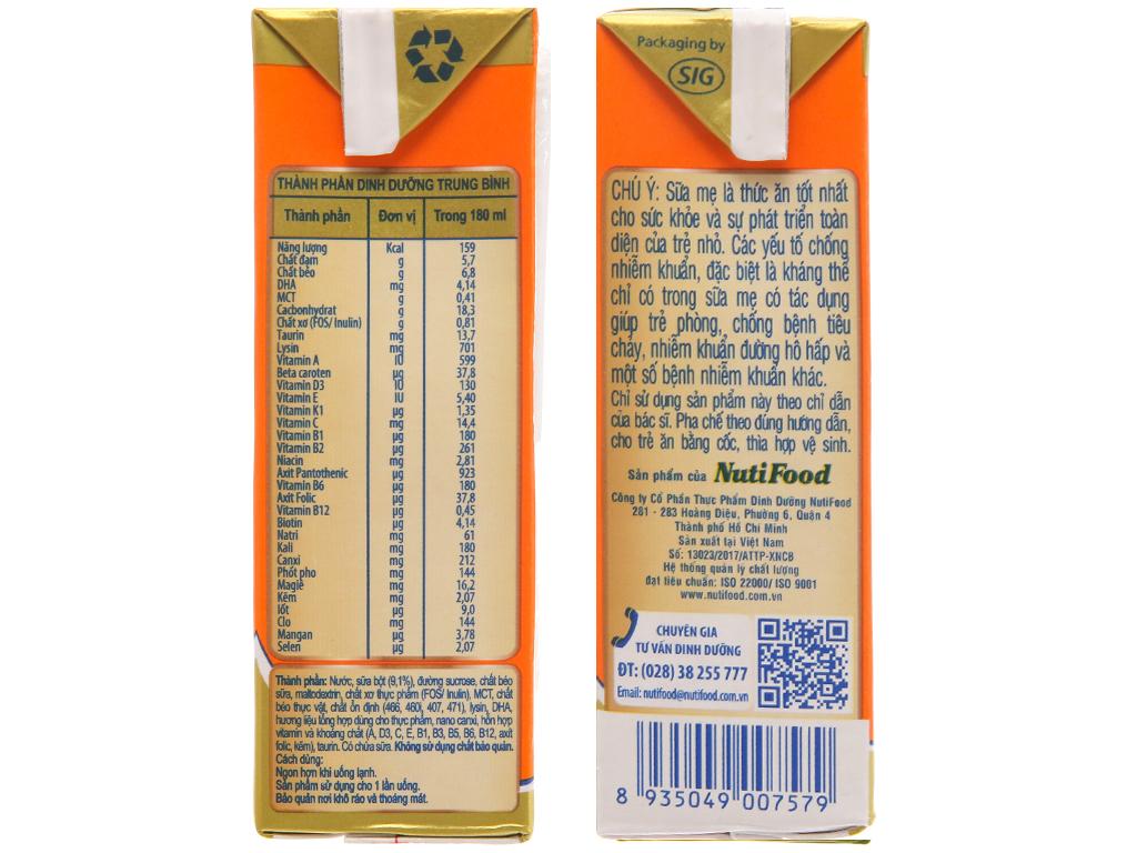 Lốc 4 hộp sữa uống dinh dưỡng NutiFood Grow Plus+ vani 180ml (cho trẻ chậm tăng cân) 5