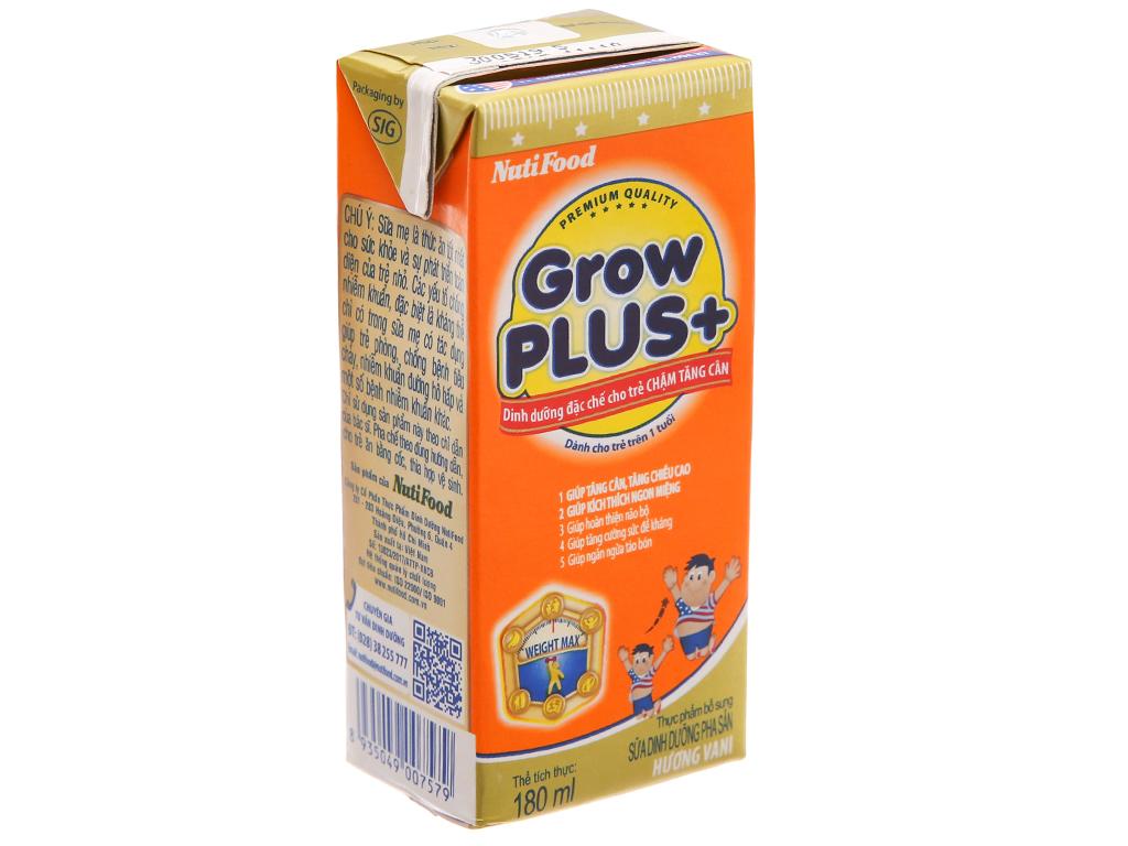 Thùng 48 hộp sữa bột pha sẵn NutiFood Grow Plus + chậm tăng cân vani 180ml 3