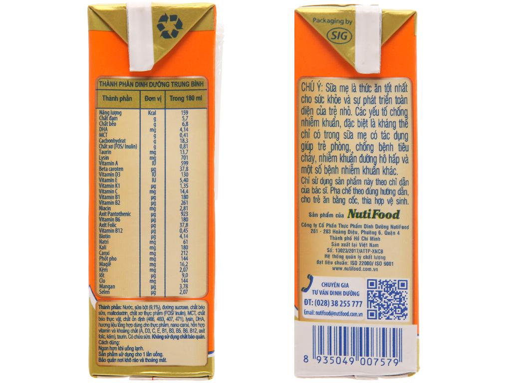 Thùng 48 hộp sữa bột pha sẵn NutiFood Grow Plus + chậm tăng cân vani 180ml 5