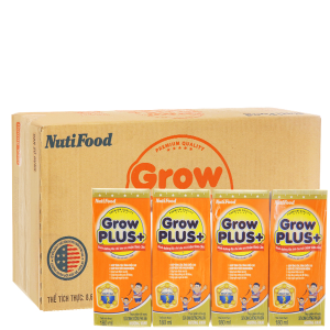 Thùng 48 hộp sữa bột pha sẵn NutiFood Grow Plus + chậm tăng cân vani 180ml