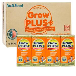 Thùng 48 hộp sữa dinh dưỡng pha sẵn NutiFood Grow Plus+ vani 180ml (trẻ chậm tăng cân)