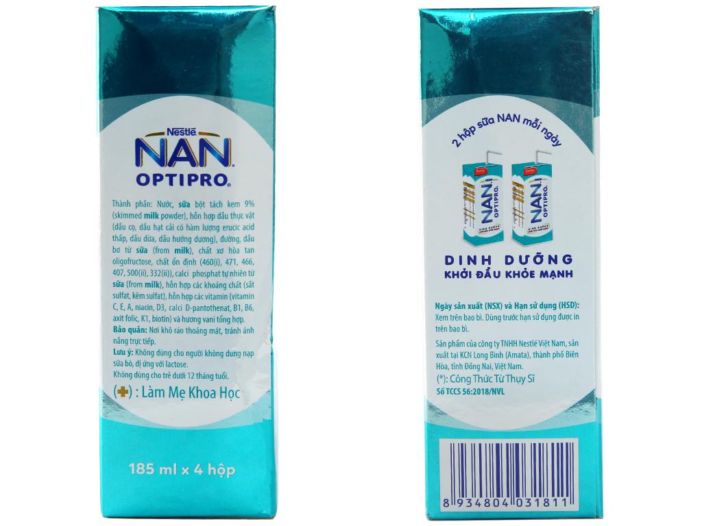 Lốc 4 hộp sữa dinh dưỡng pha sẵn Nestlé Nan Optipro 185ml 4