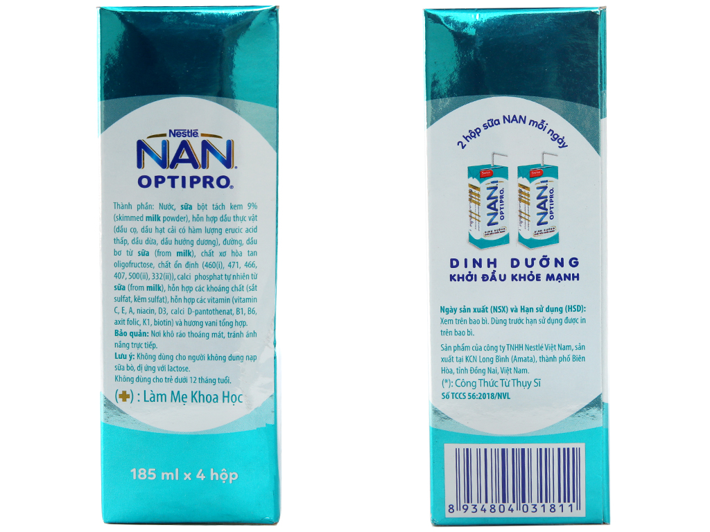 Thùng 24 hộp sữa dinh dưỡng pha sẵn Nestlé Nan Optipro 185ml 4