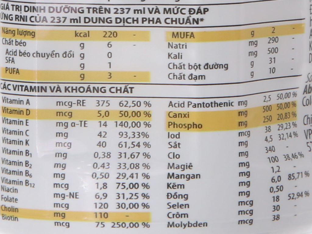 Lốc 6 chai sữa bột pha sẵn Ensure Gold Vigor vani 237ml 6