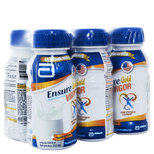 Lốc 6 chai sữa bột pha sẵn Ensure Gold Vigor vani chai 237ml
