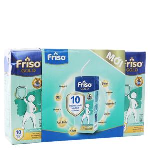 Lốc 4 hộp sữa bột pha sẵn Friso Gold vani 180ml