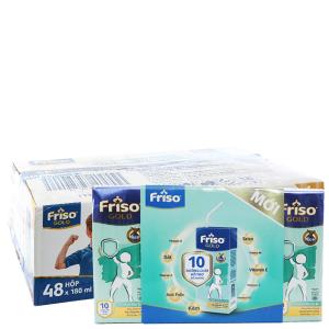 Thùng 48 hộp sữa bột pha sẵn Friso Gold vani 180ml