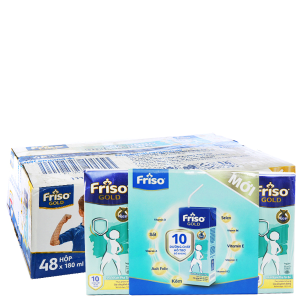 Thùng 48 hộp sữa uống dinh dưỡng Friso Gold vani 180ml