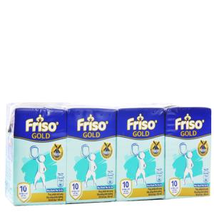 Lốc 4 hộp sữa bột pha sẵn Friso Gold vani 110ml