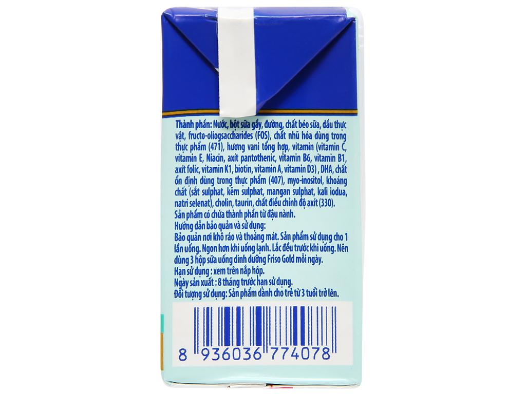 Lốc 4 hộp sữa uống dinh dưỡng Friso Gold vani 110ml 10