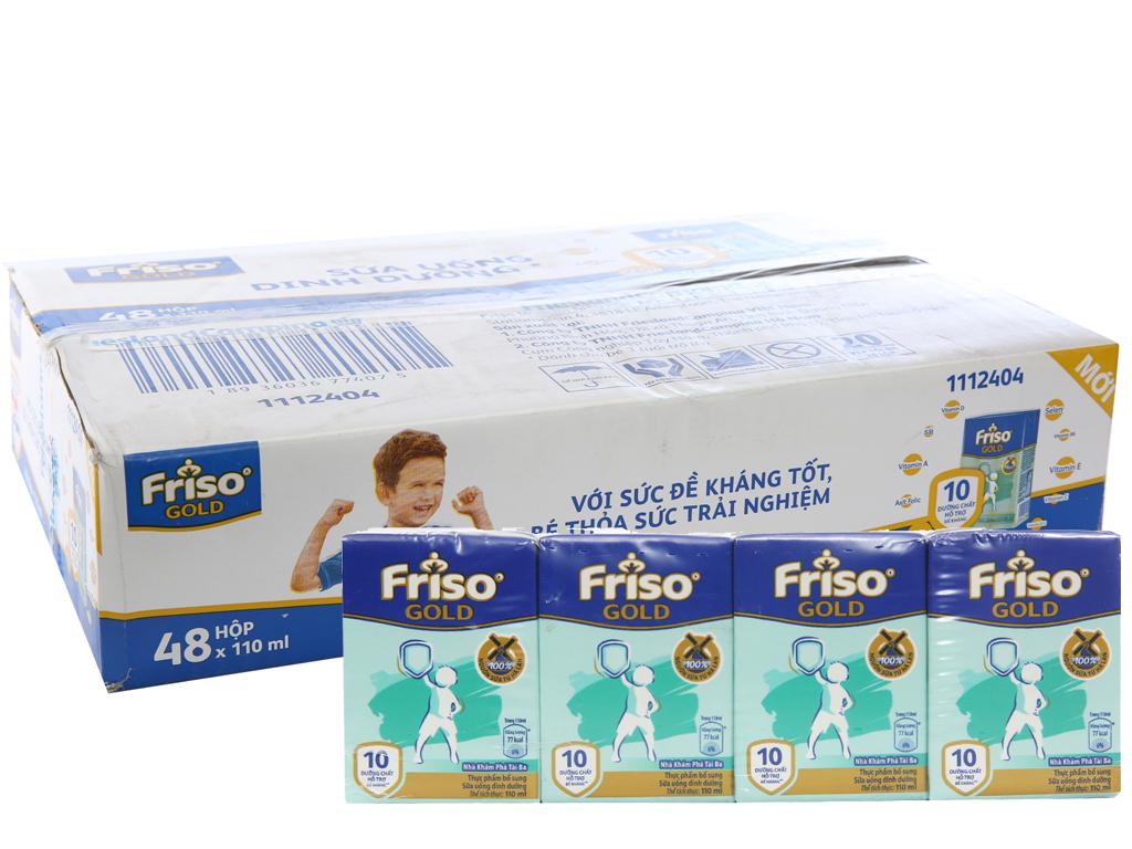 Thùng 48 hộp sữa bột pha sẵn Friso Gold vani 110ml 1
