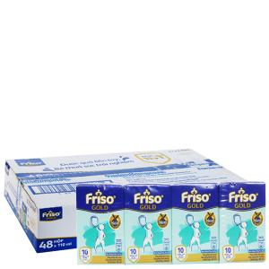 Thùng 48 hộp sữa bột pha sẵn Friso Gold vani 110ml