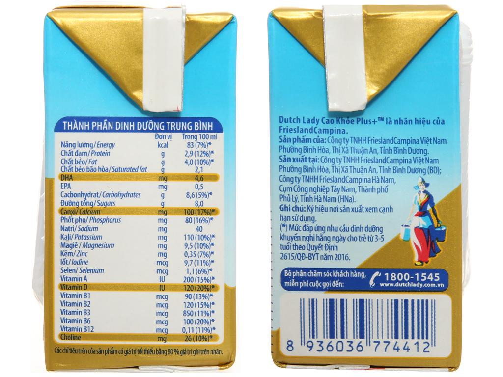 Thùng 48 hộp sữa bột pha sẵn Dutch Lady Cao Khỏe Plus+ 110ml 3