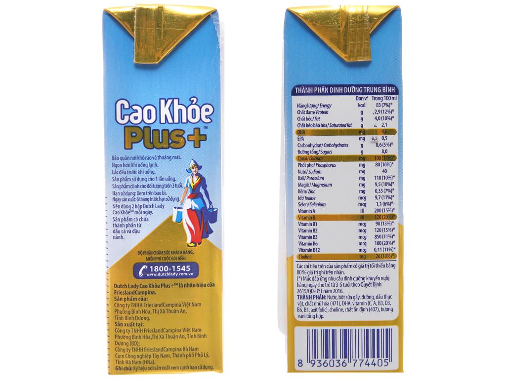 Lốc 4 hộp sữa bột pha sẵn Dutch Lady Cao Khỏe Plus+ vani 170ml 3